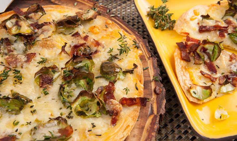 Cheddar, Brussels Sprout and Bacon Pizza
